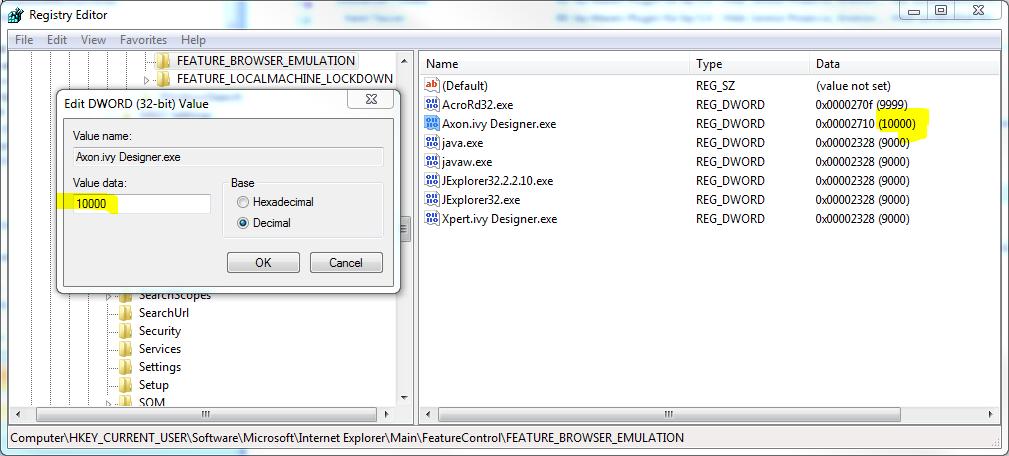 browser emulation registry editor
