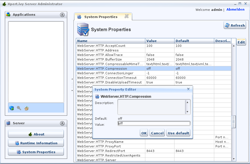 System Properties in the Ivy Administrator